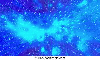 bleu, répéter, cosmique, particule, boucle