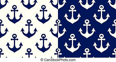bleu, répétitif, papier peint, seamless, modèle, ancre, textile, fond, vecteur, côtier, marine, conception, marin, ou