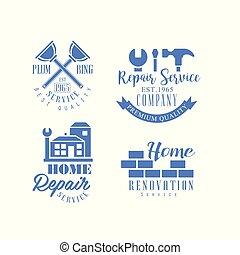 bleu, réparation, bâtiments, ensemble, fonctionnement, logos, maison, compagnie, wall., outils, emblèmes, vecteur, services., rénovation, monochrome, brique, symbole