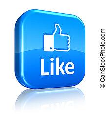 bleu, réseau, bouton, social, concept:, aimer