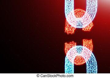 bleu, réseau, concept, chaîne, technology., point, concept., illustration, polygonal, cassé, incandescent, chaîne, grille, bloc, numérique, code., cryptocurrency, débranché, 3d, triangles, bas