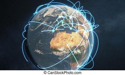 bleu, réseau, global, -, animation, version, jour terre
