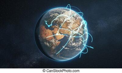 bleu, réseau, global, version, boucle, jour terre, ?