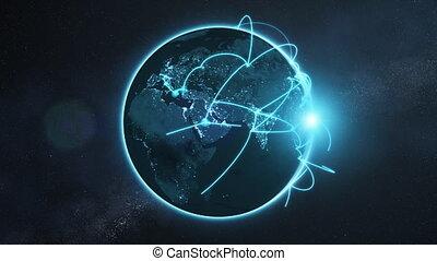 bleu, réseau, global, -, version, nuit, la terre, boucle