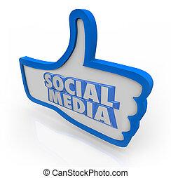 bleu, réseau, média, haut, communauté, pouces, mots, social
