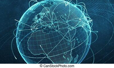 bleu, réseau, particule, global, -, version, croissant, mondiale