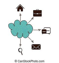 bleu, réseau, service, icônes, connexion, nuage