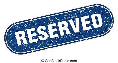 bleu, réservé, grunge, étiquette, stamp., signe.