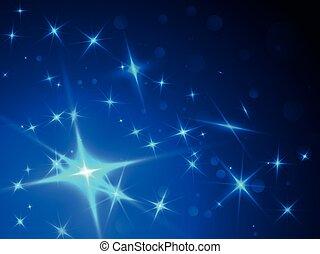 bleu, résumé, étoiles, fond