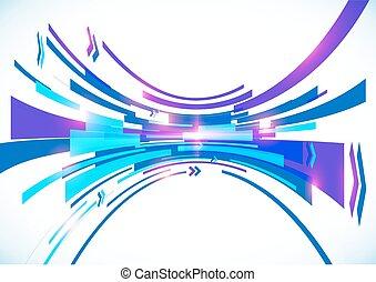 bleu, résumé, arc, vecteur, perspective, fond