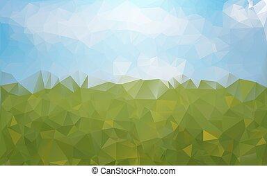 bleu, résumé, arrière-plan vert