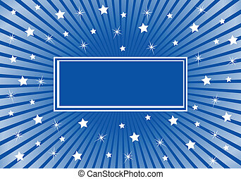 bleu, résumé, blanc, étoiles, fond