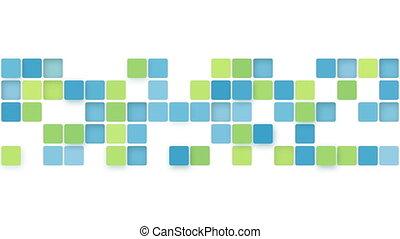bleu, résumé, boîtes, arrière-plan vert, boucle