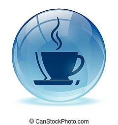 bleu, résumé, café, icône