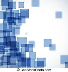 bleu, résumé, carrée, fond