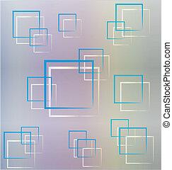 bleu, résumé, carrés, fond