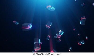 bleu, résumé, carrés, néon, rouges