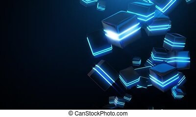 bleu, résumé, carrés, néon