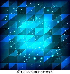 bleu, résumé, carrés, triangles, fond