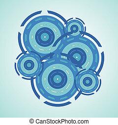 bleu, résumé, cercle, fond