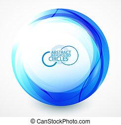 bleu, résumé, cercle, vague