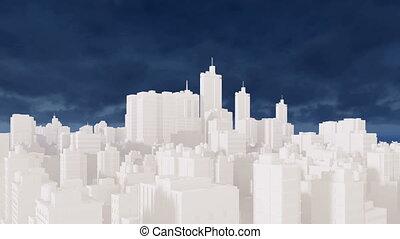 bleu, résumé, ciel, 4k, cityscape, blanc