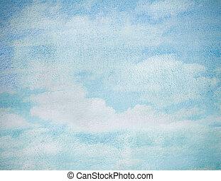 bleu, résumé, ciel, aquarelle, fond, mouillé
