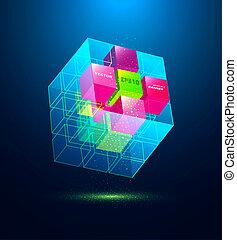 bleu, résumé, cube
