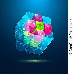bleu, résumé, cube, vecteur