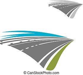 bleu, résumé, exprès, ciel, autoroute, route, icône