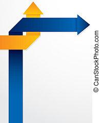 bleu, résumé, flèches, brochure, conception, orange