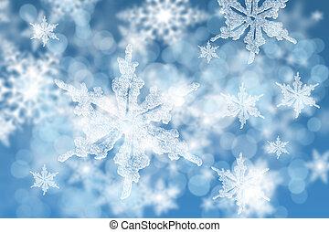 bleu, résumé, flocons neige, fond
