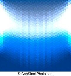 bleu, résumé, fond, hexagones