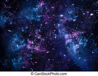 bleu, résumé, galaxie, fond