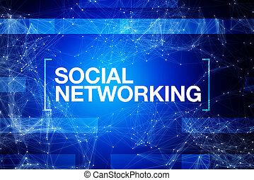 bleu, résumé, gestion réseau, fond, social