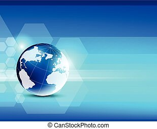 bleu, résumé, globe, fond