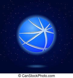 bleu, résumé, globe, icône