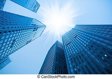 bleu, résumé, gratte-ciel, bâtiment