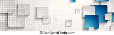 bleu, résumé, gris, conception, bannière géométrique