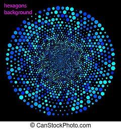 bleu, résumé, hexagones, technologie, fond