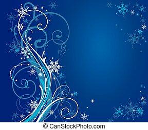 bleu, résumé, hiver, fond