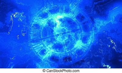 bleu, résumé, horloge, boucle, temps