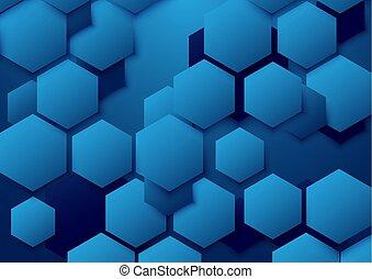 bleu, résumé, illustration, arrière-plan., vecteur, hexagone