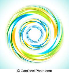 bleu, résumé, jaune, clair, arrière-plan vert, tourbillon, cercle