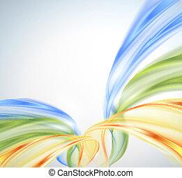 bleu, résumé, jaune, vague, vert, bac