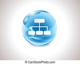 bleu, résumé, lustré, sitemap, icône