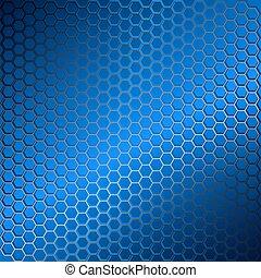 bleu, résumé, métal, hexagons., arrière-plan grille