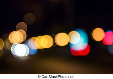 bleu, résumé, nuit, lumières, rue, barbouillage, rouges