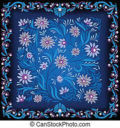 bleu, résumé, ornement, fond foncé, floral