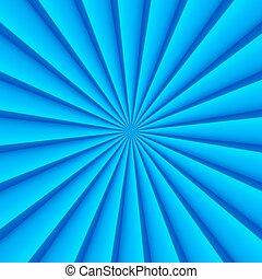 bleu, résumé, rayons, cercle, vecteur, fond